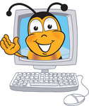 Clip art Graphic of a Honey Bee Cartoon Character Waving From Inside a Computer Screen