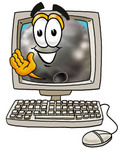 Clip Art Graphic of a Bowling Ball Cartoon Character Waving From Inside a Computer Screen