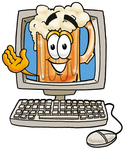 Clip art Graphic of a Frothy Mug of Beer or Soda Cartoon Character Waving From Inside a Computer Screen