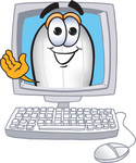 Clip art Graphic of a Dirigible Blimp Airship Cartoon Character Waving From Inside a Computer Screen