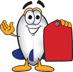 Clip art Graphic of a Dirigible Blimp Airship Cartoon Character Holding a Red Sales Price Tag