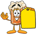 Clip art Graphic of a Frothy Mug of Beer or Soda Cartoon Character Holding a Yellow Sales Price Tag