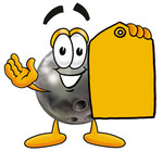 Clip Art Graphic of a Bowling Ball Cartoon Character Holding a Yellow Sales Price Tag