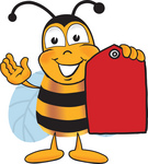 Clip art Graphic of a Honey Bee Cartoon Character Holding a Red Sales Price Tag