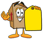 Clip Art Graphic of a Cardboard Shipping Box Cartoon Character Holding a Yellow Sales Price Tag