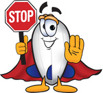 Clip art Graphic of a Dirigible Blimp Airship Cartoon Character Holding a Stop Sign