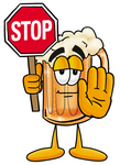 Clip art Graphic of a Frothy Mug of Beer or Soda Cartoon Character Holding a Stop Sign