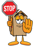 Clip Art Graphic of a Cardboard Shipping Box Cartoon Character Holding a Stop Sign