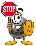 Clip Art Graphic of a Bowling Ball Cartoon Character Holding a Stop Sign