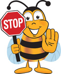 Clip art Graphic of a Honey Bee Cartoon Character Holding a Stop Sign