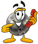 Clip Art Graphic of a Bowling Ball Cartoon Character Holding a Telephone