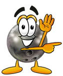 Clip Art Graphic of a Bowling Ball Cartoon Character Waving and Pointing