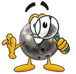 Clip Art Graphic of a Bowling Ball Cartoon Character Looking Through a Magnifying Glass