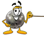 Clip Art Graphic of a Bowling Ball Cartoon Character Holding a Pointer Stick