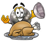 Clip Art Graphic of a Bowling Ball Cartoon Character Serving a Thanksgiving Turkey on a Platter