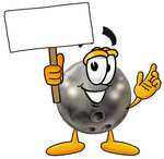 Clip Art Graphic of a Bowling Ball Cartoon Character Holding a Blank Sign