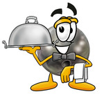 Clip Art Graphic of a Bowling Ball Cartoon Character Dressed as a Waiter and Holding a Serving Platter