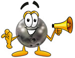Clip Art Graphic of a Bowling Ball Cartoon Character Holding a Megaphone