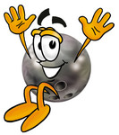 Clip Art Graphic of a Bowling Ball Cartoon Character Jumping