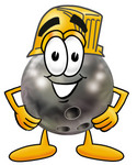 Clip Art Graphic of a Bowling Ball Cartoon Character Wearing a Hardhat Helmet