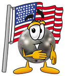 Clip Art Graphic of a Bowling Ball Cartoon Character Pledging Allegiance to an American Flag