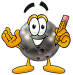 Clip Art Graphic of a Bowling Ball Cartoon Character Holding a Pencil