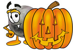 Clip Art Graphic of a Bowling Ball Cartoon Character With a Carved Halloween Pumpkin