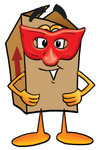 Clip Art Graphic of a Cardboard Shipping Box Cartoon Character Wearing a Red Mask Over His Face