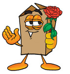 Clip Art Graphic of a Cardboard Shipping Box Cartoon Character Holding a Red Rose on Valentines Day