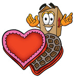 Clip Art Graphic of a Cardboard Shipping Box Cartoon Character With an Open Box of Valentines Day Chocolate Candies