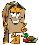 Clip Art Graphic of a Cardboard Shipping Box Cartoon Character Duck Hunting, Standing With a Rifle and Duck