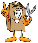 Clip Art Graphic of a Cardboard Shipping Box Cartoon Character Holding a Pair of Scissors