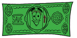 Clip Art Graphic of a Cardboard Shipping Box Cartoon Character on a Dollar Bill