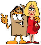 Clip Art Graphic of a Cardboard Shipping Box Cartoon Character Talking to a Pretty Blond Woman
