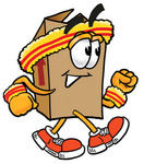 Clip Art Graphic of a Cardboard Shipping Box Cartoon Character Speed Walking or Jogging