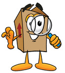 Clip Art Graphic of a Cardboard Shipping Box Cartoon Character Looking Through a Magnifying Glass