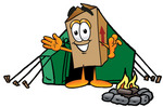 Clip Art Graphic of a Cardboard Shipping Box Cartoon Character Camping With a Tent and Fire