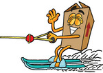 Clip Art Graphic of a Cardboard Shipping Box Cartoon Character Waving While Water Skiing