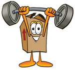 Clip Art Graphic of a Cardboard Shipping Box Cartoon Character Holding a Heavy Barbell Above His Head