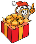 Clip Art Graphic of a Cardboard Shipping Box Cartoon Character Standing by a Christmas Present