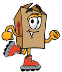 Clip Art Graphic of a Cardboard Shipping Box Cartoon Character Roller Blading on Inline Skates