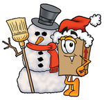 Clip Art Graphic of a Cardboard Shipping Box Cartoon Character With a Snowman on Christmas
