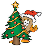 Clip Art Graphic of a Cardboard Shipping Box Cartoon Character Waving and Standing by a Decorated Christmas Tree