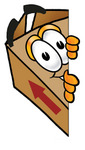 Clip Art Graphic of a Cardboard Shipping Box Cartoon Character Peeking Around a Corner