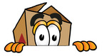 Clip Art Graphic of a Cardboard Shipping Box Cartoon Character Peeking Over a Surface