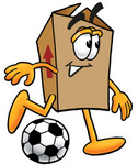 Clip Art Graphic of a Cardboard Shipping Box Cartoon Character Kicking a Soccer Ball