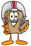Clip Art Graphic of a Cardboard Shipping Box Cartoon Character in a Helmet, Holding a Football