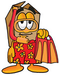 Clip Art Graphic of a Cardboard Shipping Box Cartoon Character in Orange and Red Snorkel Gear