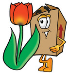 Clip Art Graphic of a Cardboard Shipping Box Cartoon Character With a Red Tulip Flower in the Spring