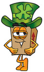 Clip Art Graphic of a Cardboard Shipping Box Cartoon Character Wearing a Saint Patricks Day Hat With a Clover on it